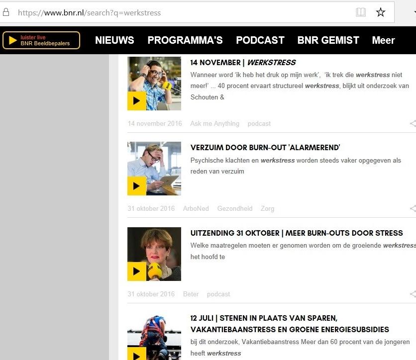 BNR nieuwsradio, Werkstress.