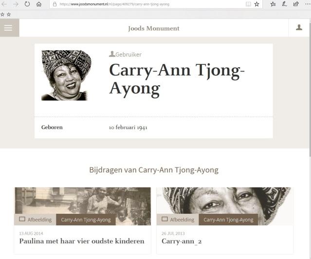 Carry-Ann Tjong-Ayong, Joods Historisch Museum.